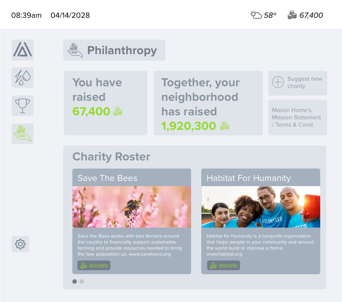Philanthropy —  A title was added to this screen and the donate button was moved and made more clear.