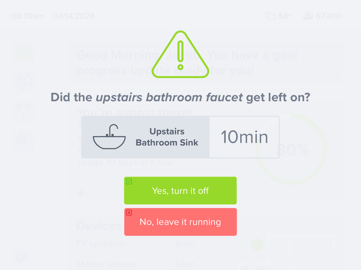 Notification —  The notifications in the previous version came up when the user navigated to the usage screen, the notifications now come up as soon as the user interacts with the interface to reduce the amount of taps before the alert can be addressed.