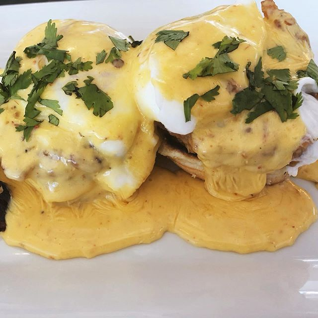 "The before & after of our messy but delicious fried green tomato benedict 🍳 . . . click the ""reserve"" button on our Instagram page to get a spot for brunch Saturday & Sunday starting @ 10 am !"
