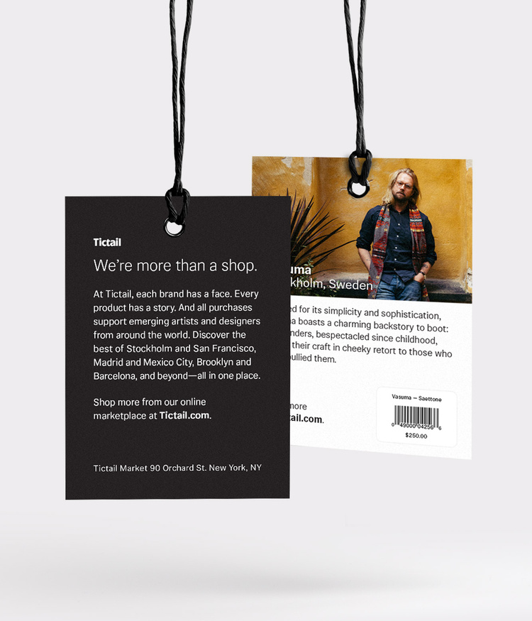 In-store brand bio tags   Design by  Michael Jung