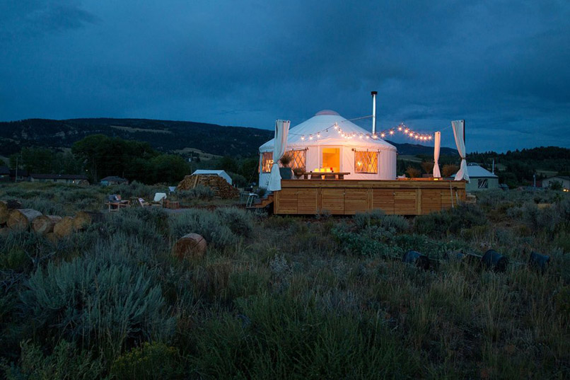 This Jackson, Wyoming, Yurt Brings a Dose of Whimsy to the Wilderness   Architectural Digest | Photos by Jenny Pfeiffer