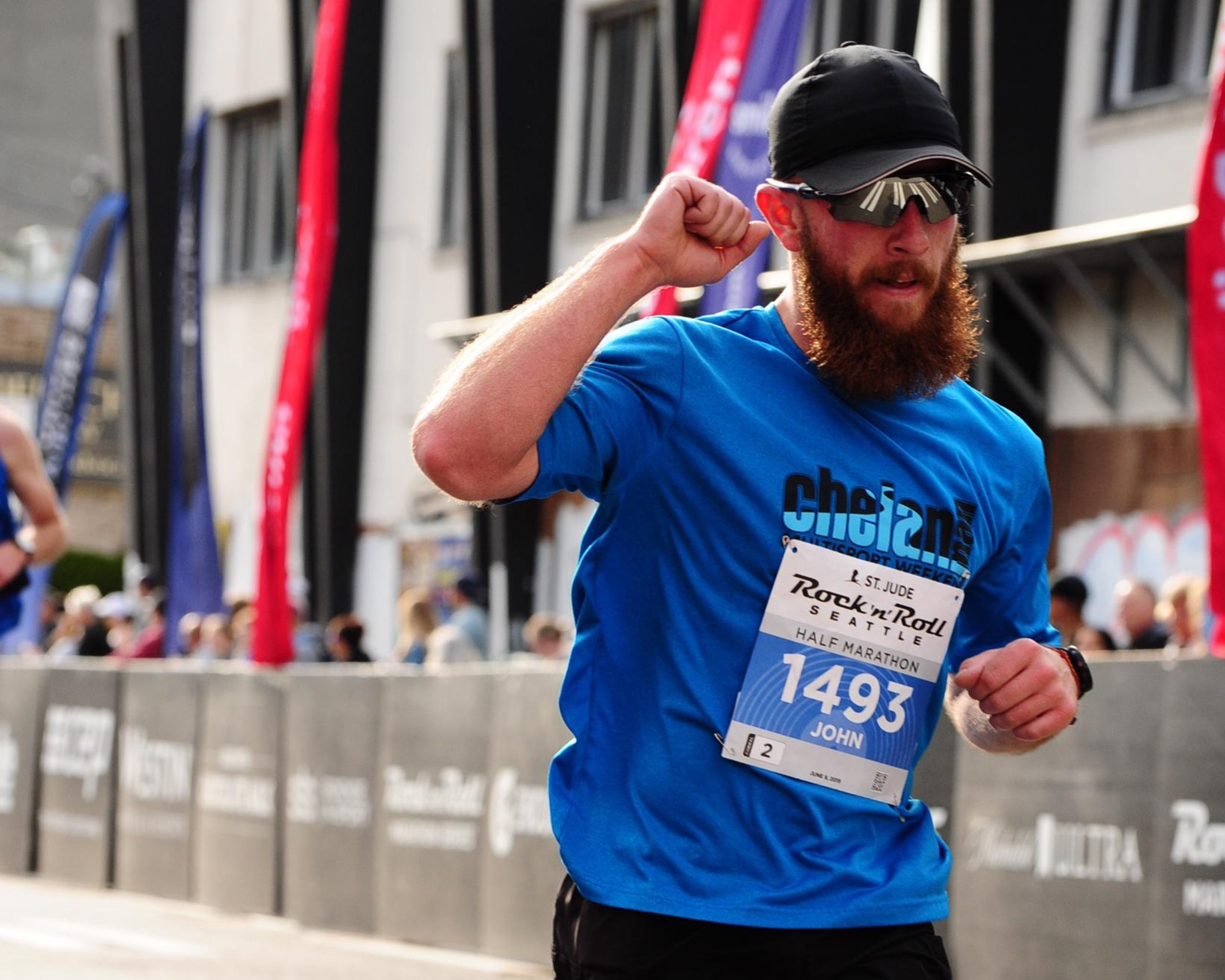 Triumphant 1:38 half-marathon finish.