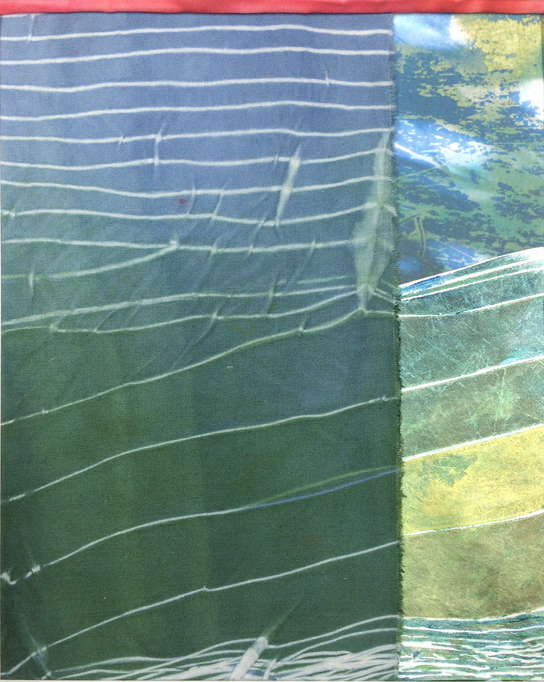 Shibori-dyed fabric serves at the catalyst for this piece. Media: Fabric, tyvek, photo transfer to fabric
