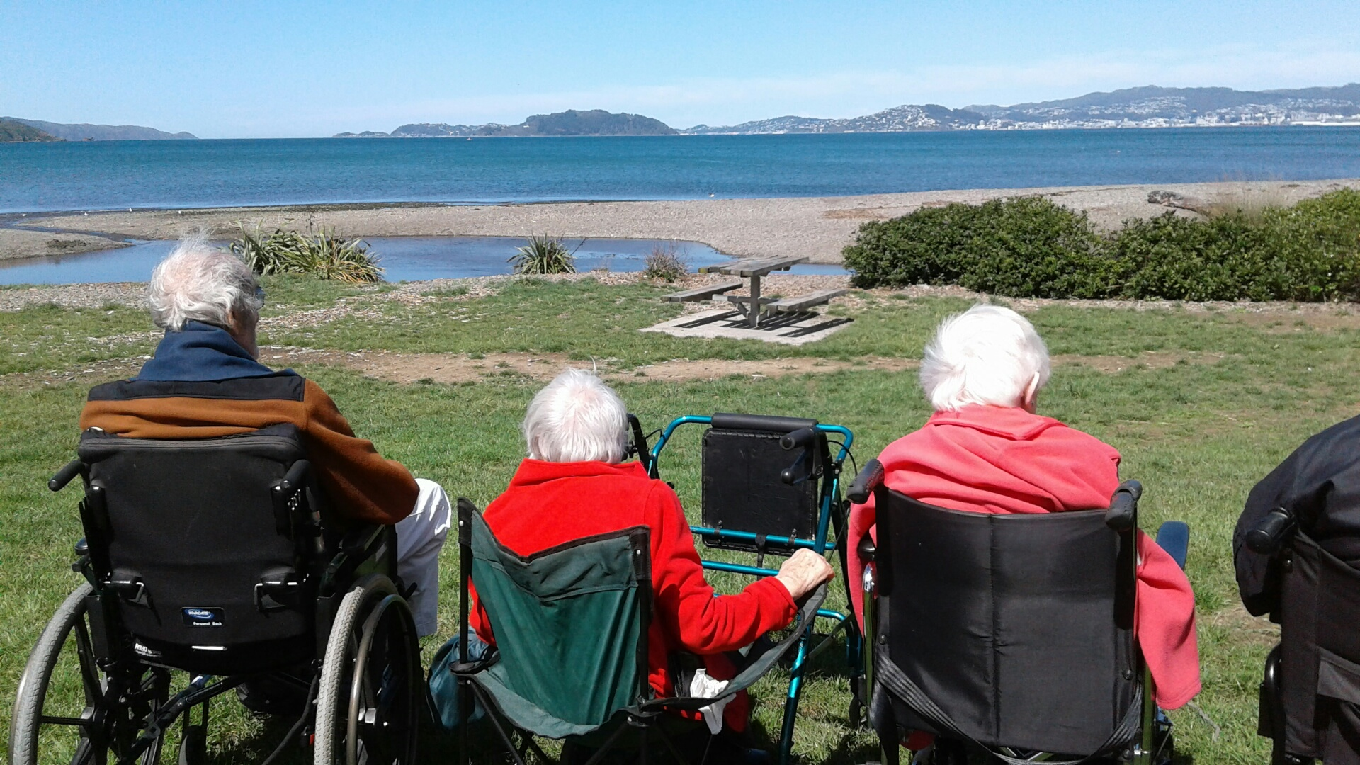 Steph & Laurie taking Vincentian Home residents to Petone beach for fish n' chips.
