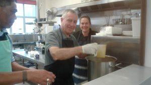 Cardinal John helped serve breakfast at the Soup Kitchen.