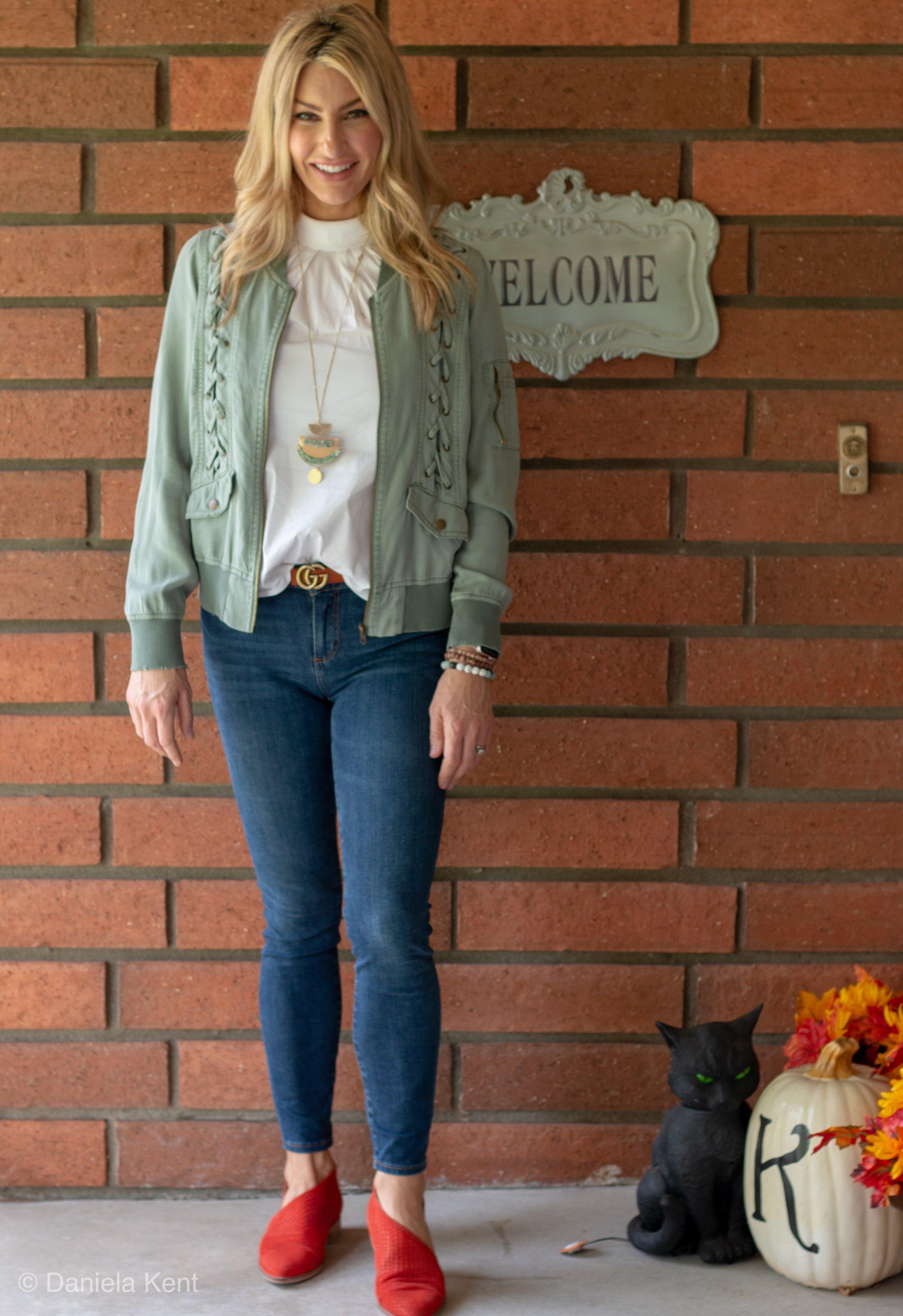 Green lace-up jacket, Dylan Grace Boutique, Glendora, CA.