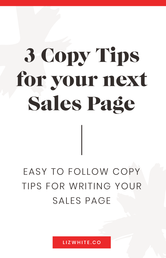 Top 3 copywriting tips for writing your next sales page.