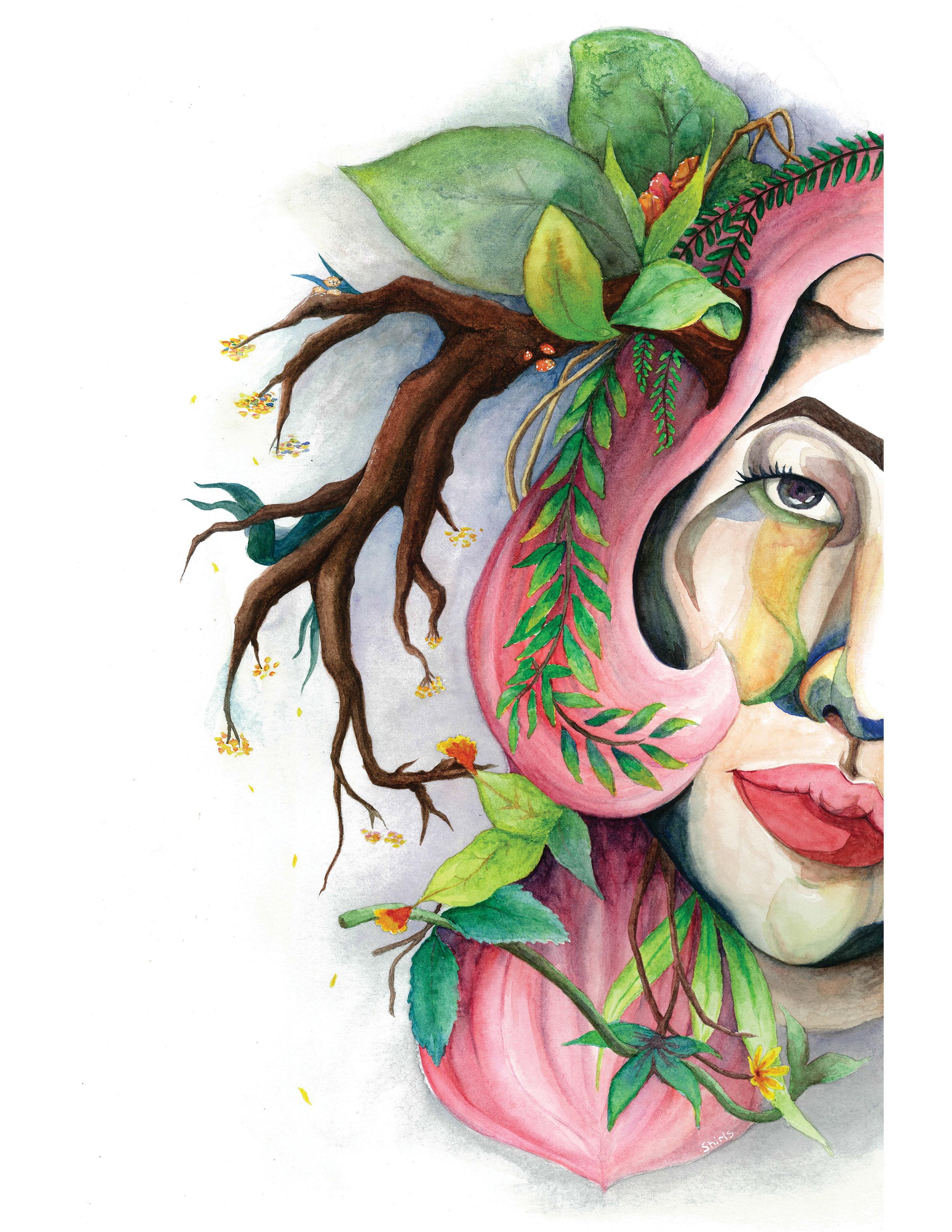 Spring Gaze. Watercolour and gouache on paper