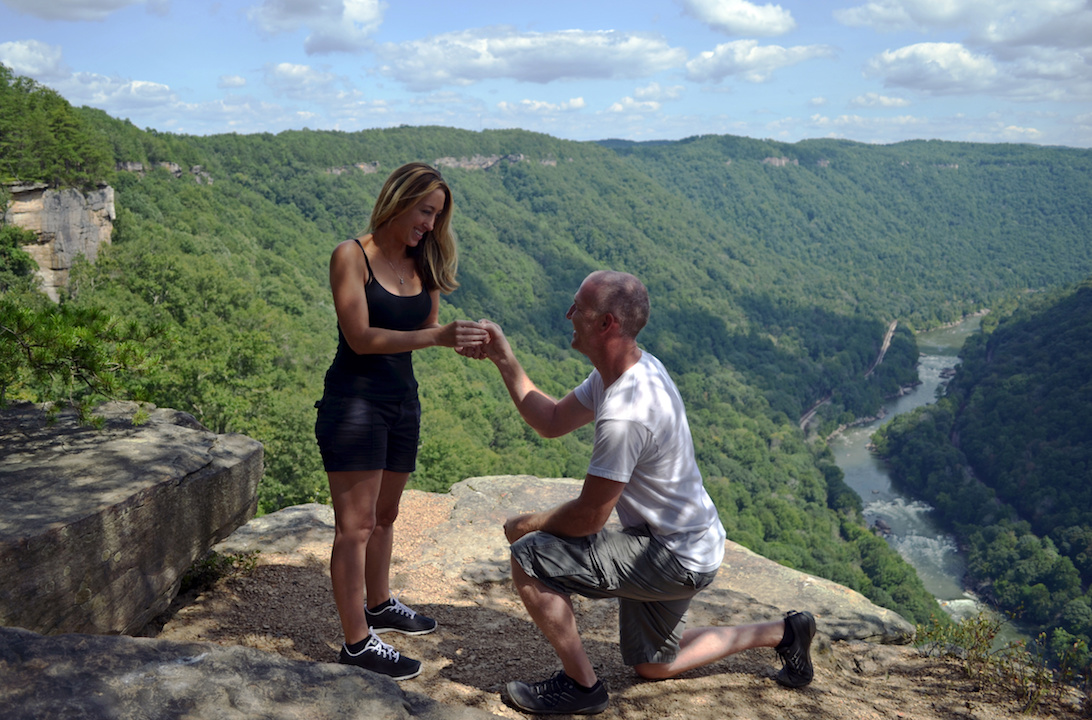 Add a little heart at the exact place on the trail where you proposed!
