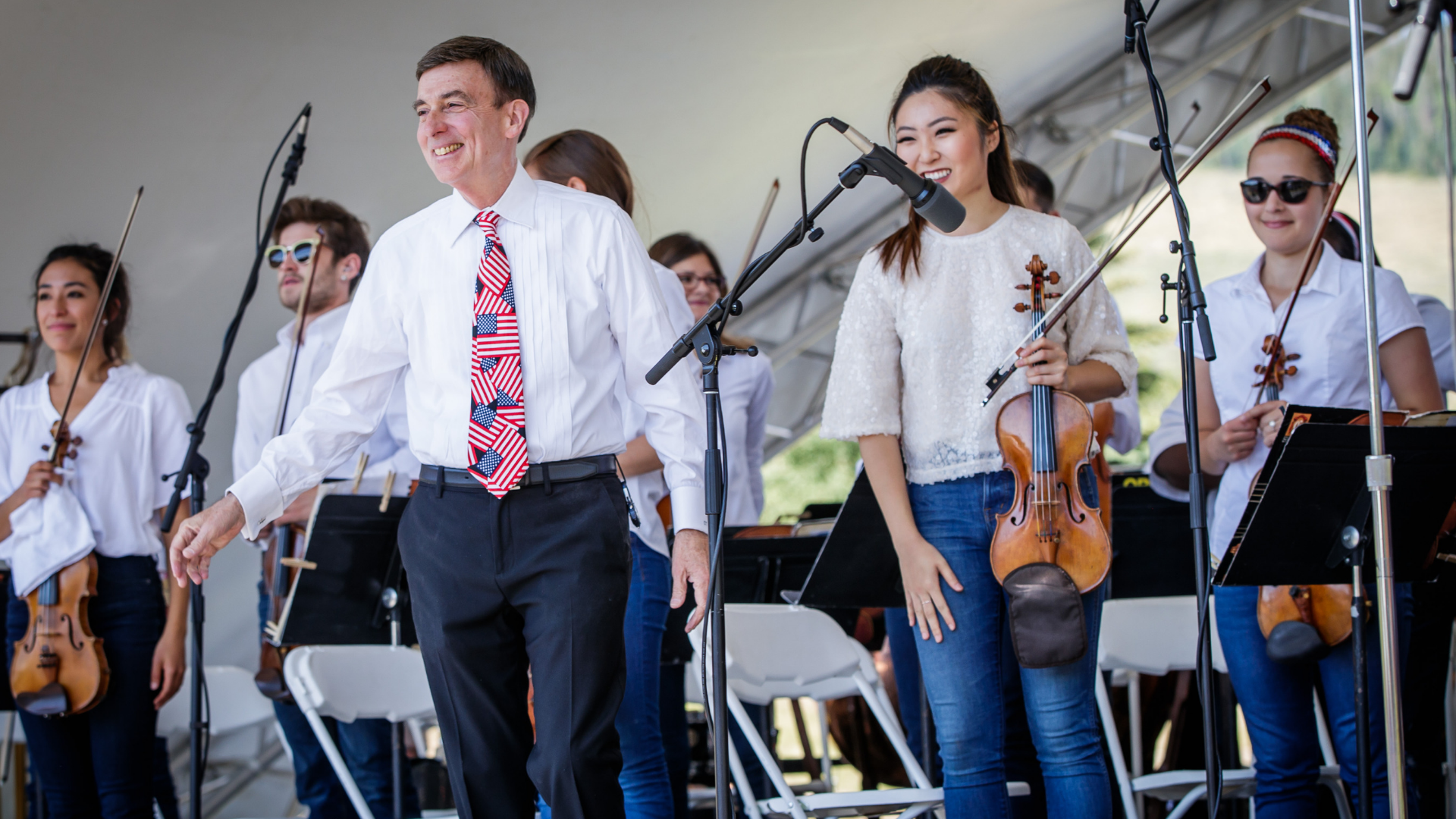 Carl Topilow with students from National Repertory Orchestra.