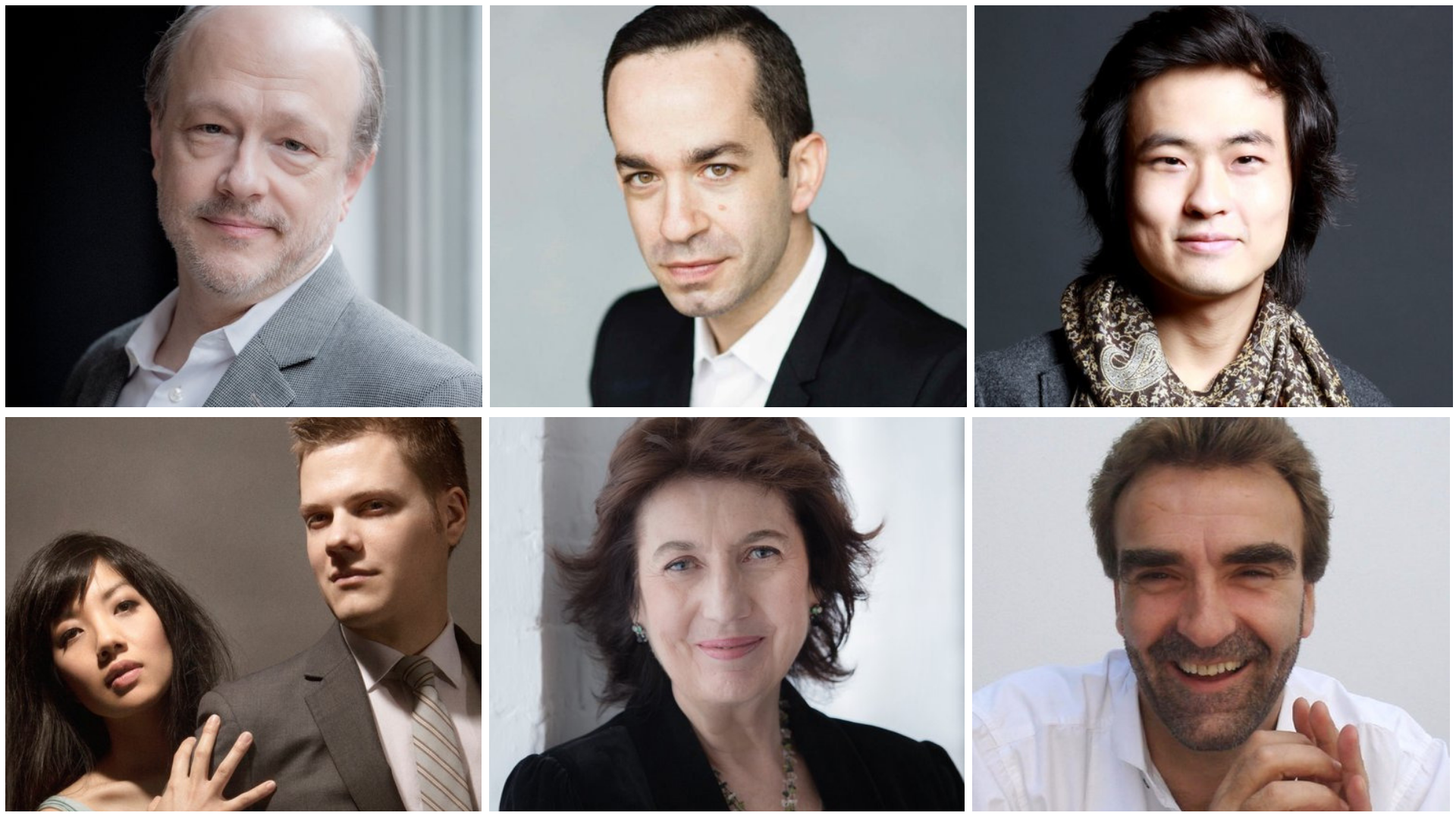 The 2019-2020 season for Portland Piano International will include, top, left to right: Marc-André Hamelin, Inon Barnatan, and Dasol Kim; bottom, from left to right: Anderson & Roe, Imogen Cooper, and Jonathan Plowright.