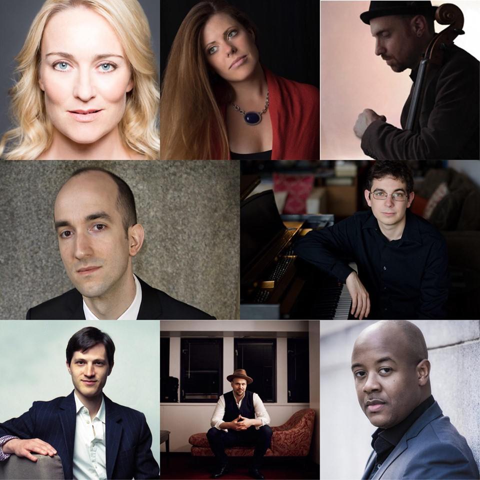 Top row, left to right: sopranos Marnie Breckenridge and Kristina Bachrach; and cellist Dave Eggar. Middle row, pianists Mike Brofman and Dimitri Dover. Last row, pianist Michael Djupstrom; and baritones Edward Arthur and Jorell Williams.