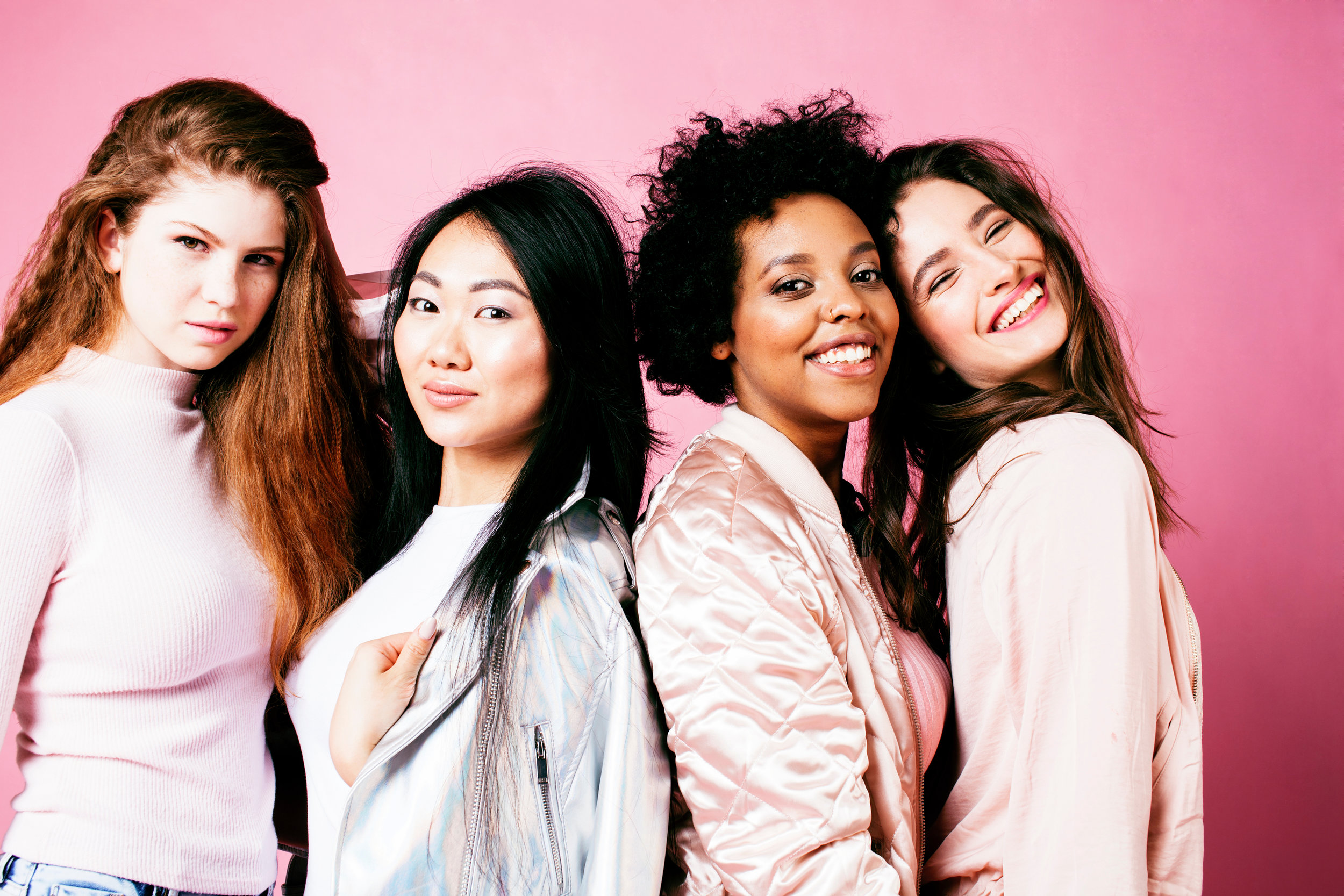 group of diverse young woman
