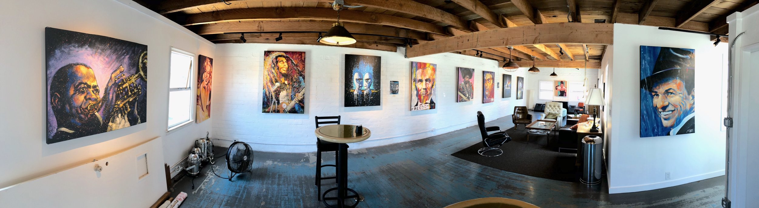 The upper studio gallery where local artist display their work.