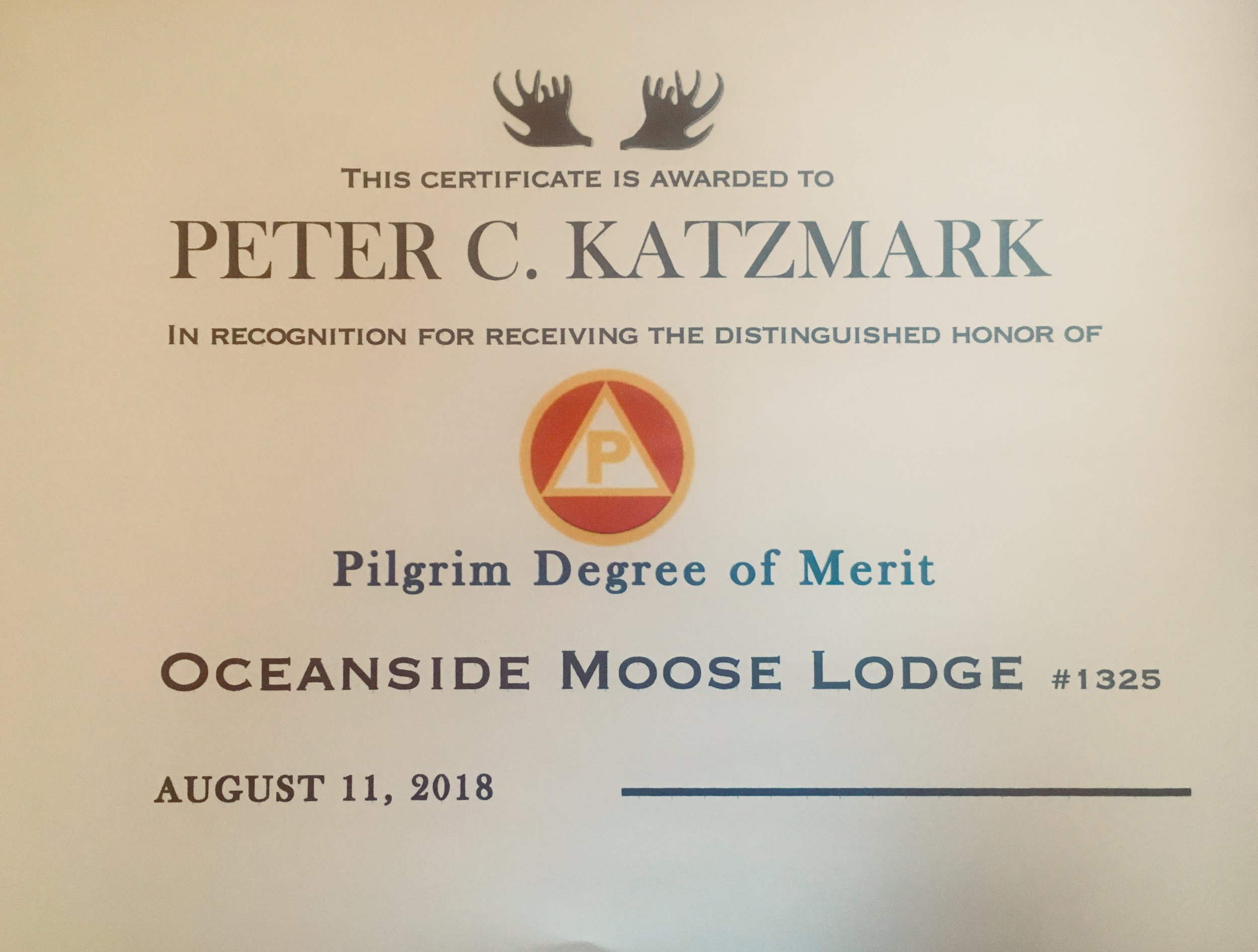Pilgrim Degree of Merit - Peter Katzmark (deceased) recently honored with the Pilgrim Degree of Merit. Peter has been distinguished as a man of meritorious service to the Order.