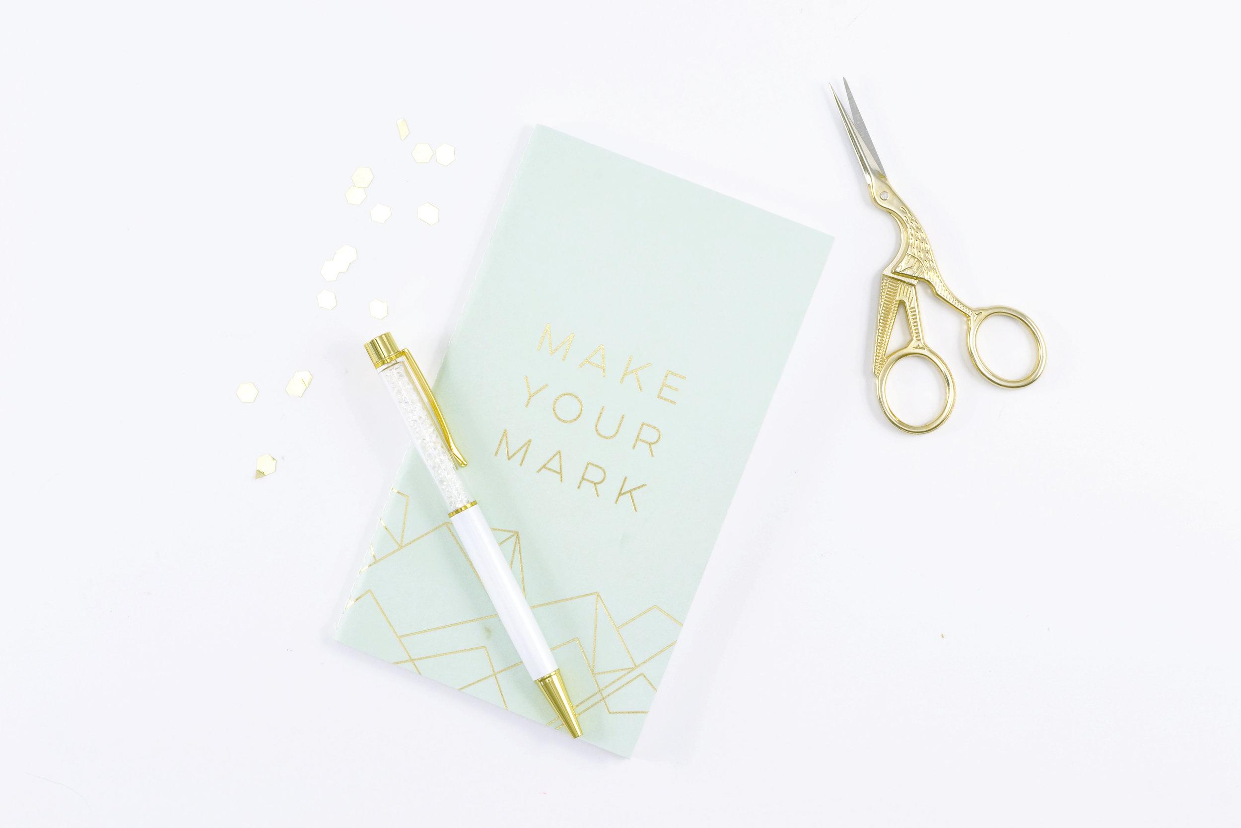 Make Your Mark Gold White journal, gold scissors.jpg