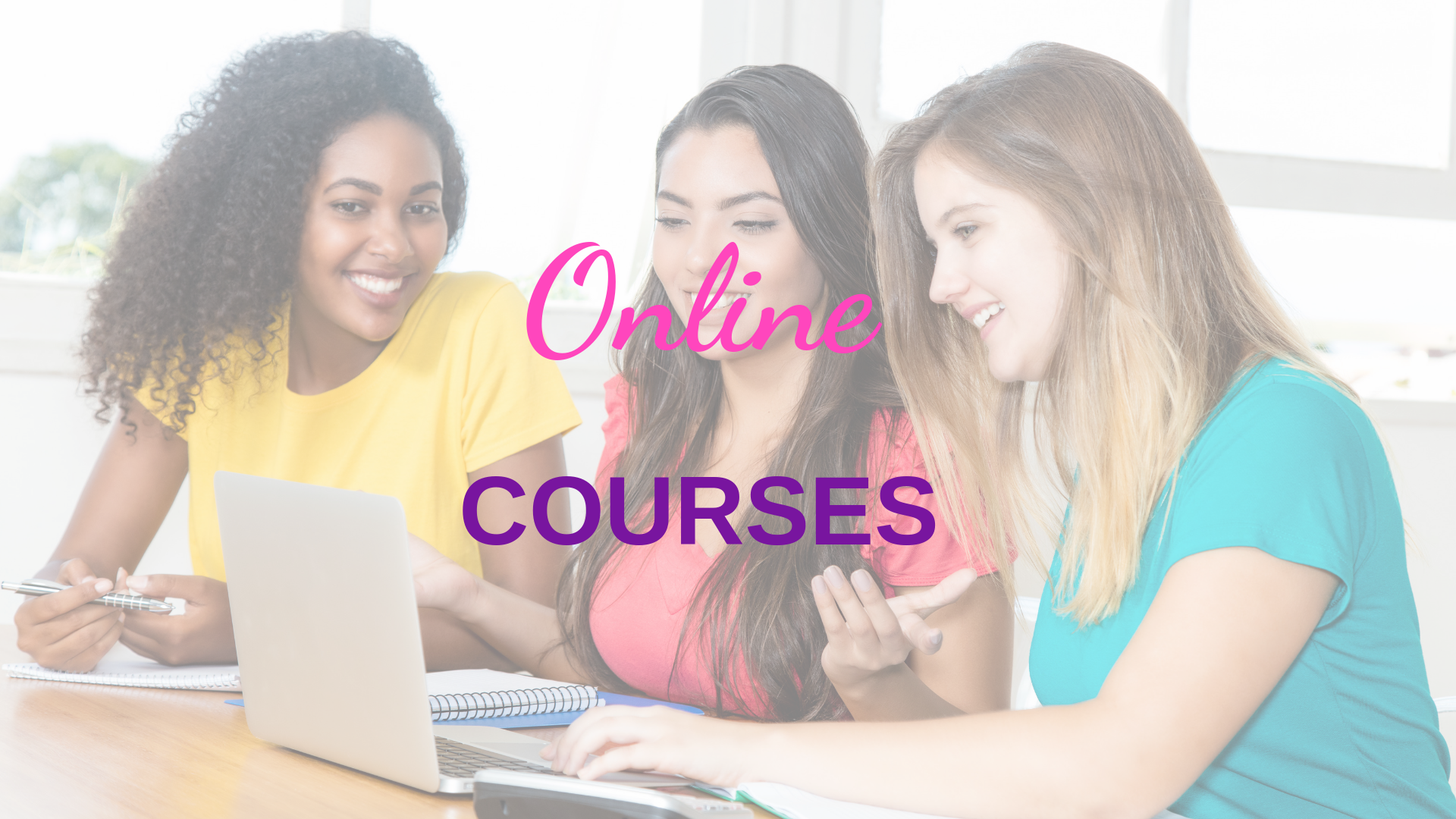Black, Latina and White young women looking at a laptop for an online course.