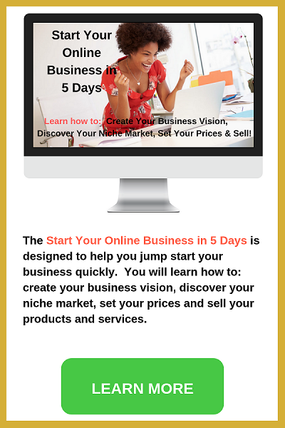 Start your online business in 5 days. Desktop MAC atop desk, green plant, cat nick nack.