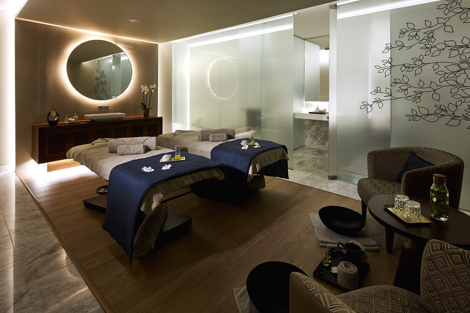 Couples' suite at the Tivoli Spa in Lisbon.