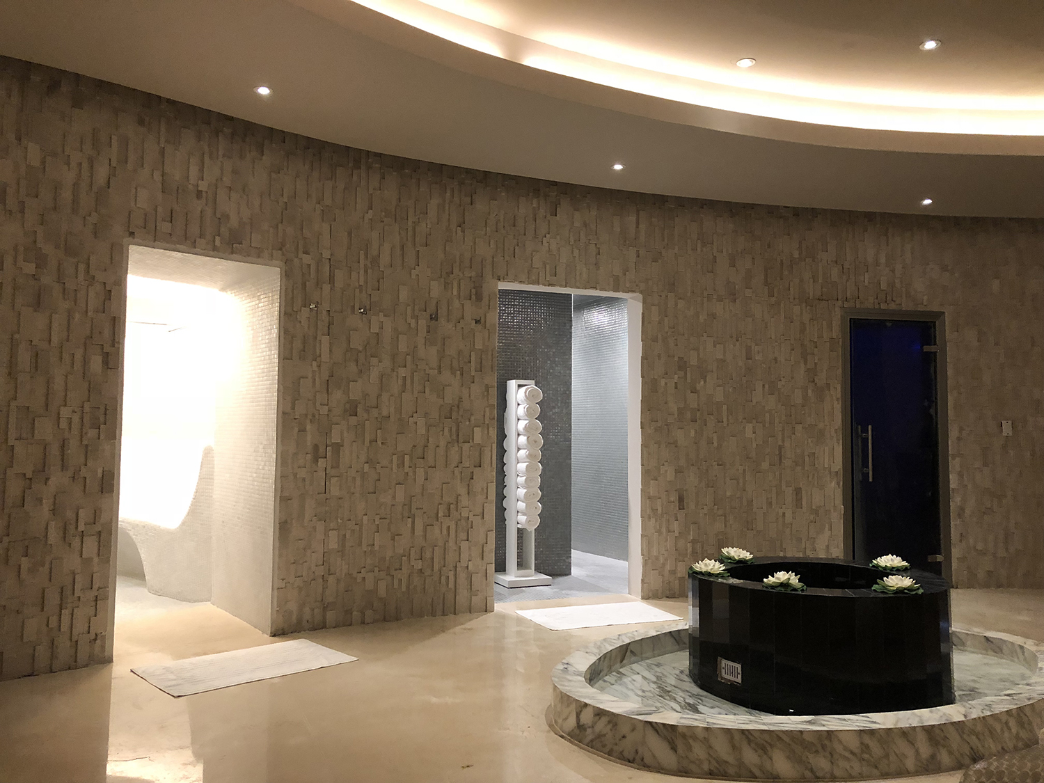 The hydrotherapy journey includes an ice room, rain shower and steam room.