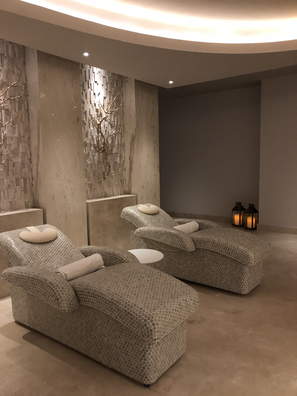 The heated stone spa beds are relaxing and comfortable.