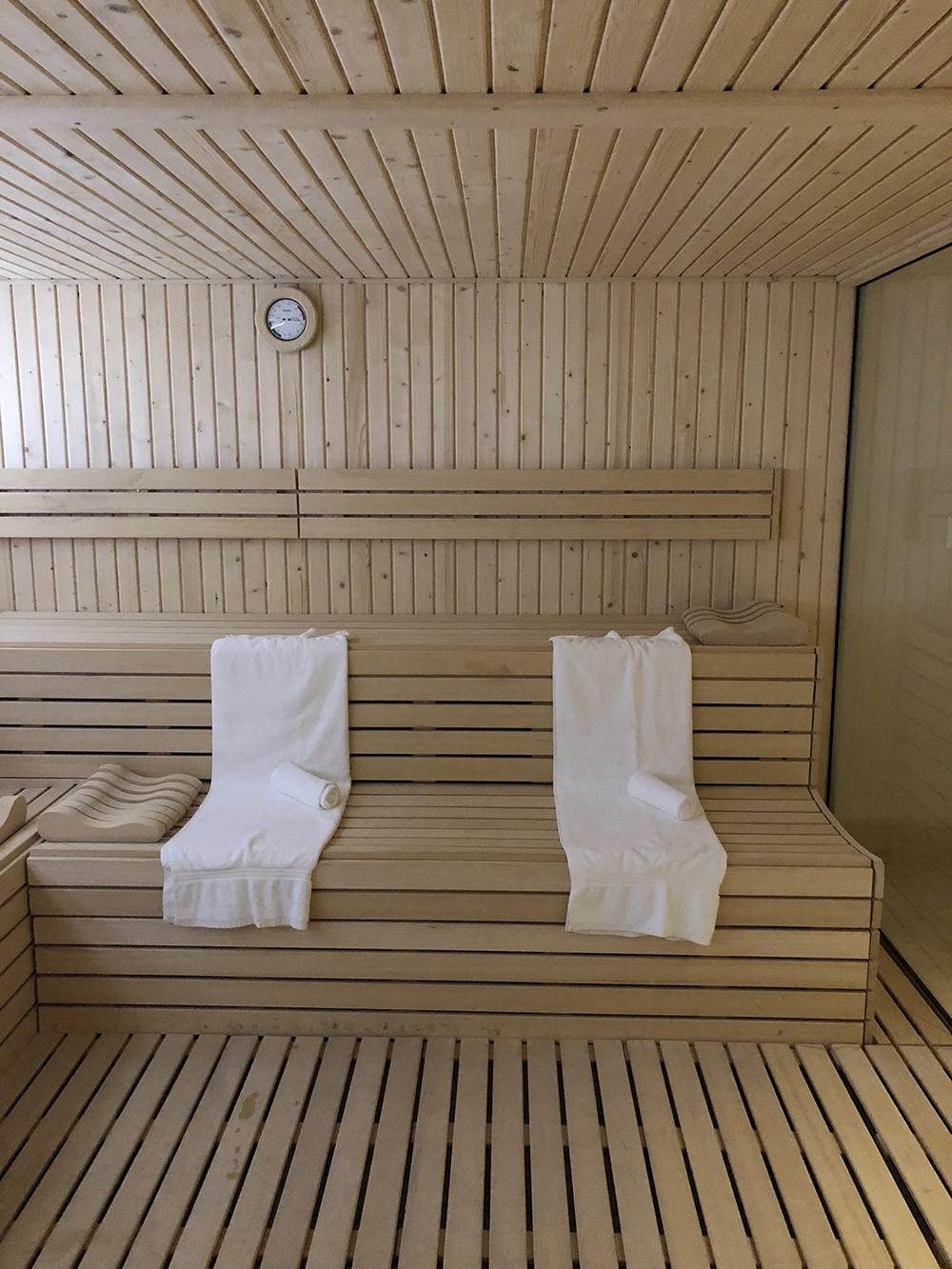 The dry sauna.