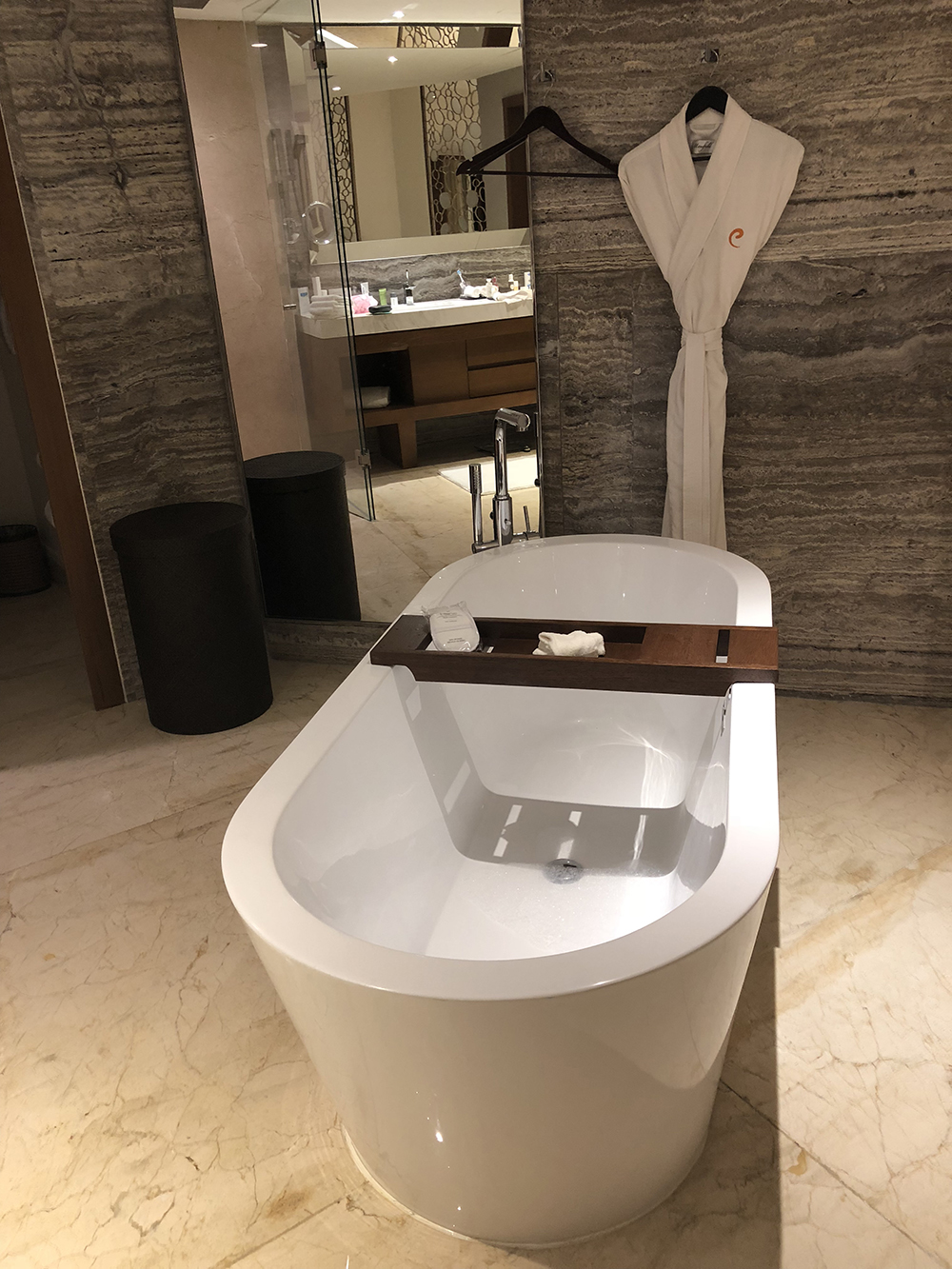 Guests can enjoy personal butler service, which includes aromatherapy and a drawn bath.