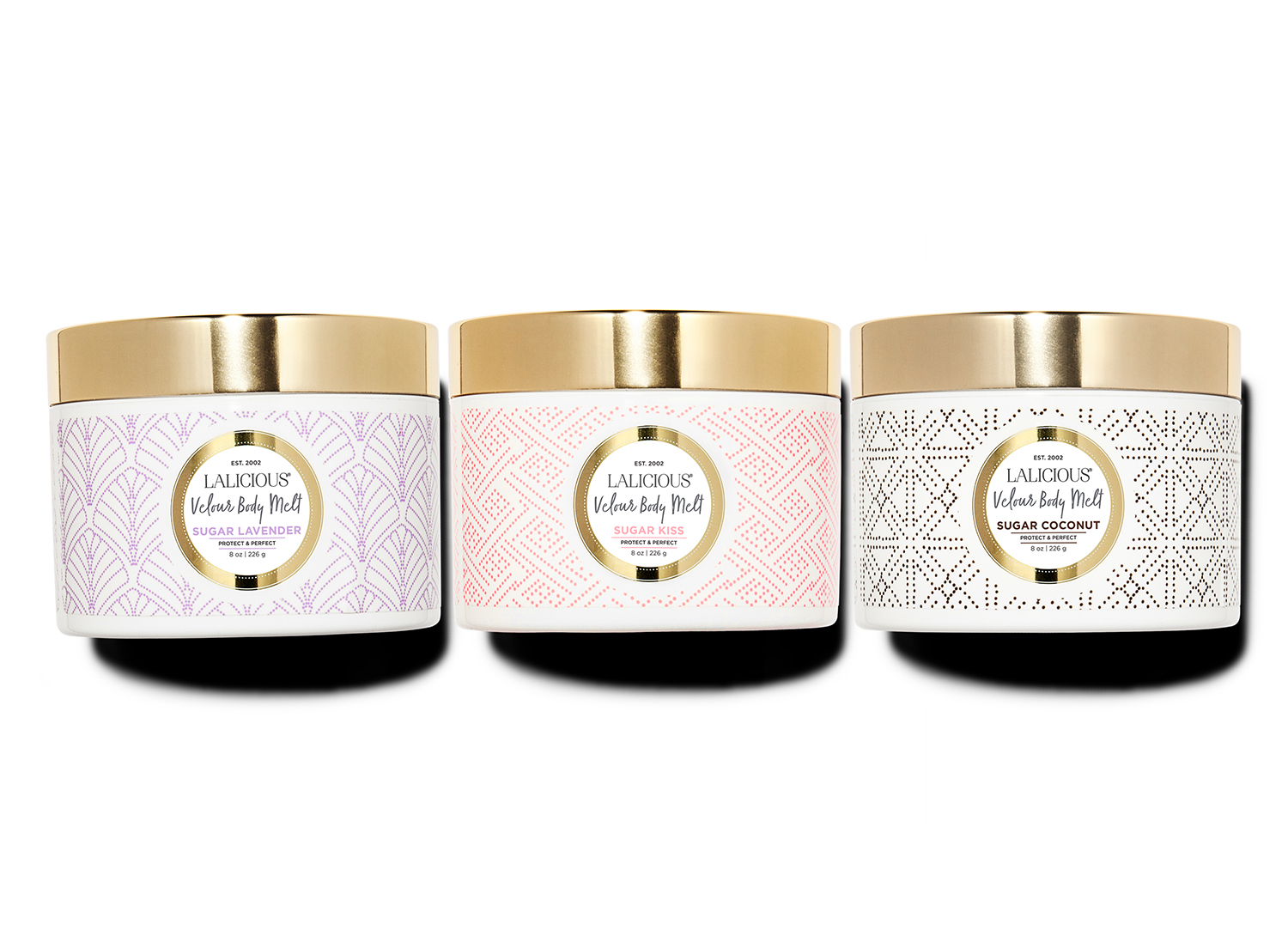 The LALICIOUS Velour Body Melt comes in three divine fragrances.