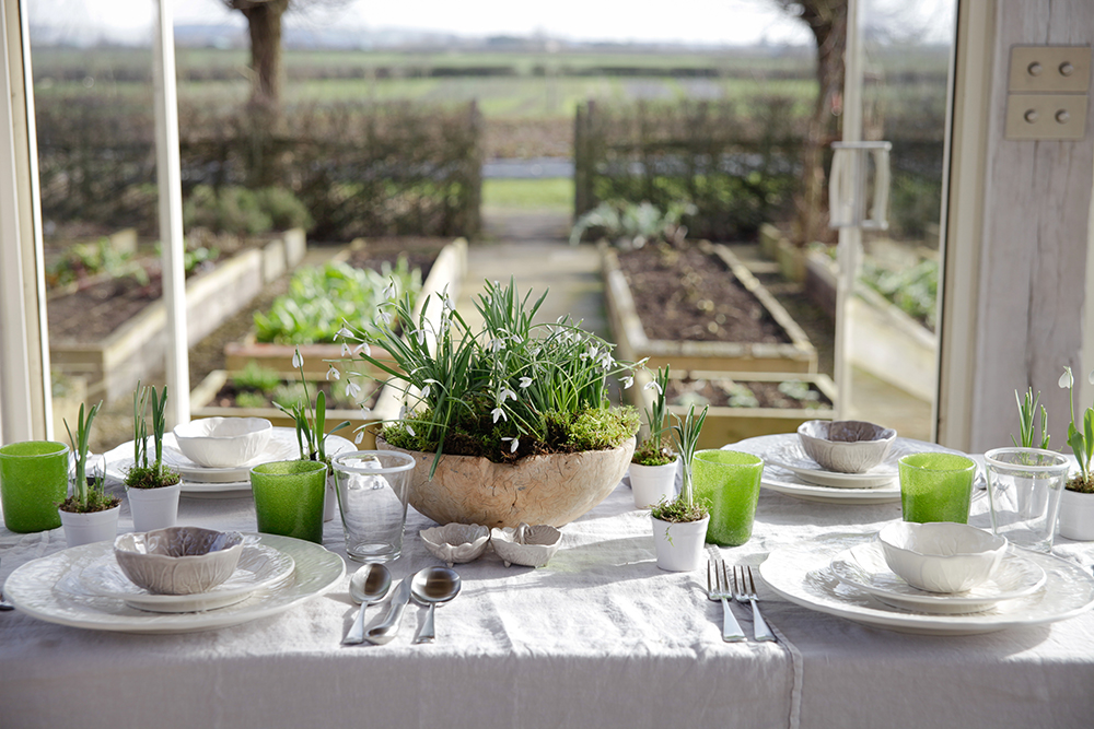 Spring table setting at Daylesford Farm.