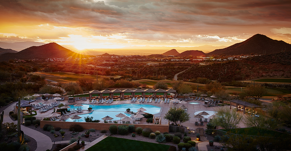Sunset at the JW Marriott Tucson Starr Pass Resort & Spa in Tucson, Arizona.