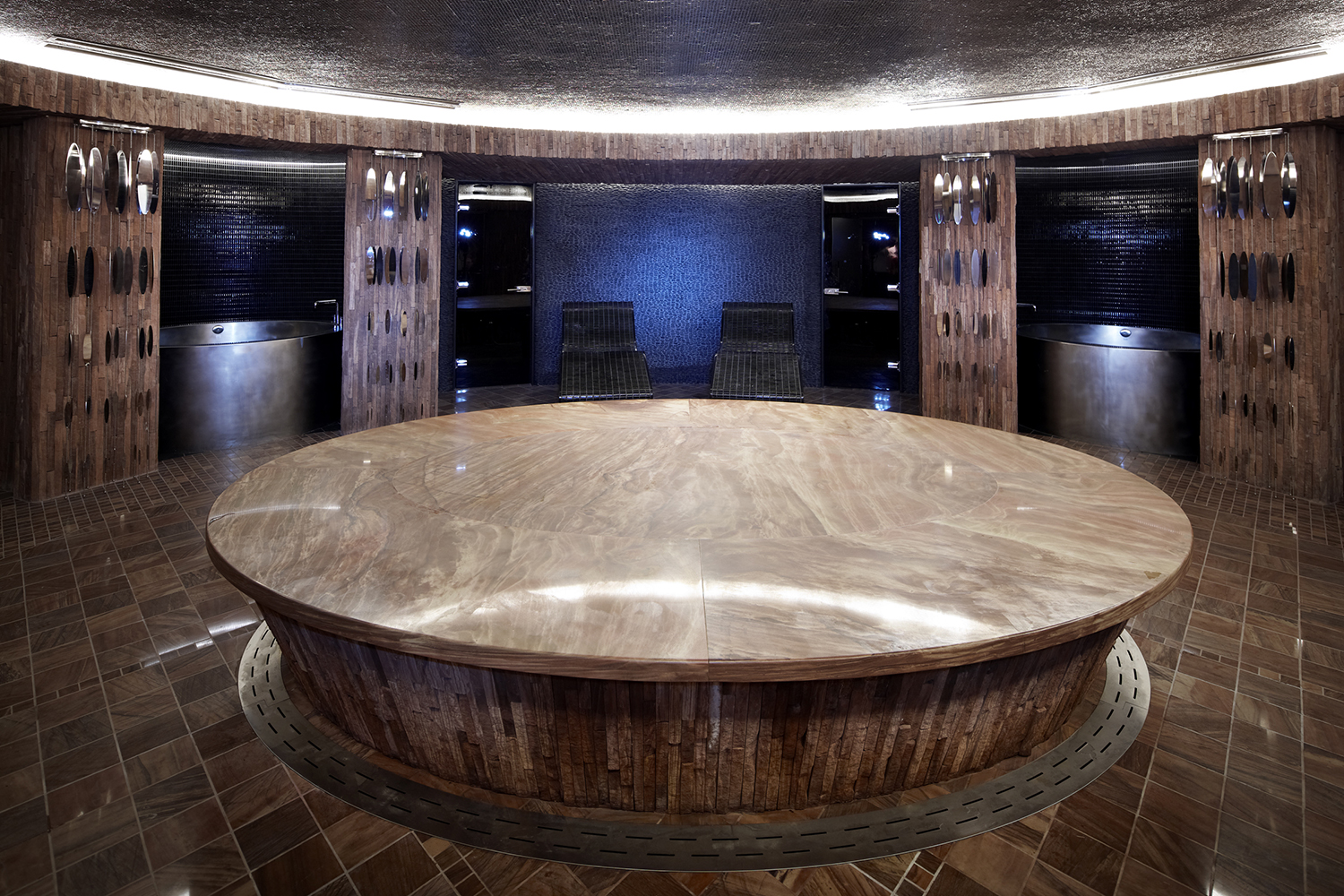 Guests of Sahra Spa can relax on the heated giant stone slab in the Hammam room.