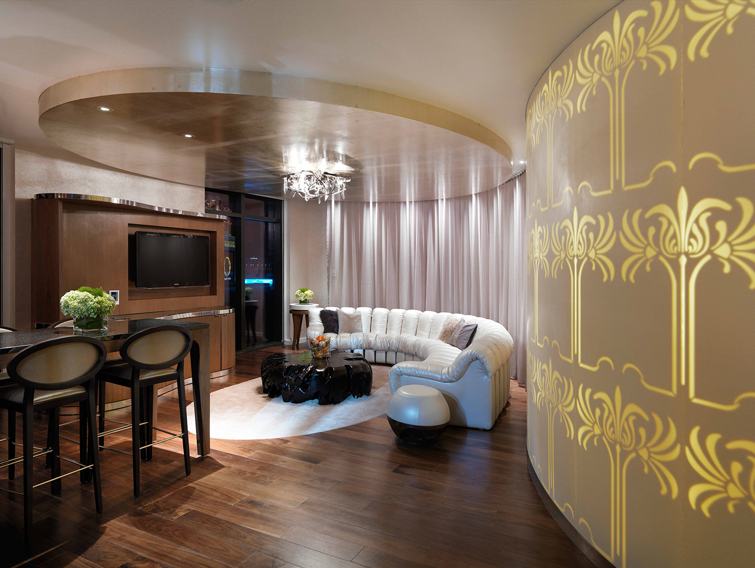 The Sahra Spa Penthouse Suite combines a well-appointed living and entertainment area with private spa accommodations.