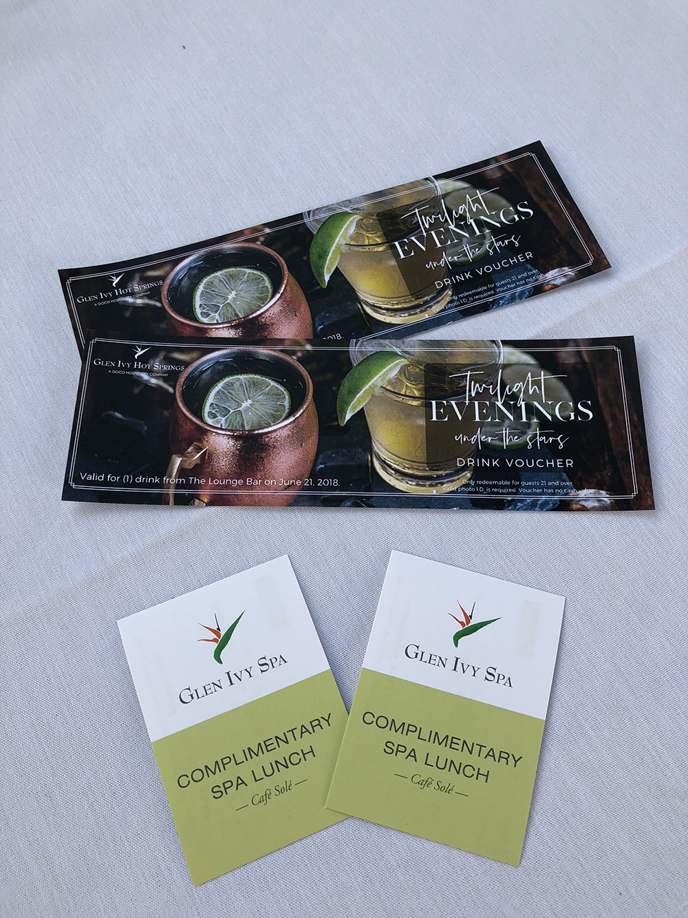 We enjoyed a lovely dinner and drinks at the spa's Twilight Evenings Under the Stars, a popular weekly event.
