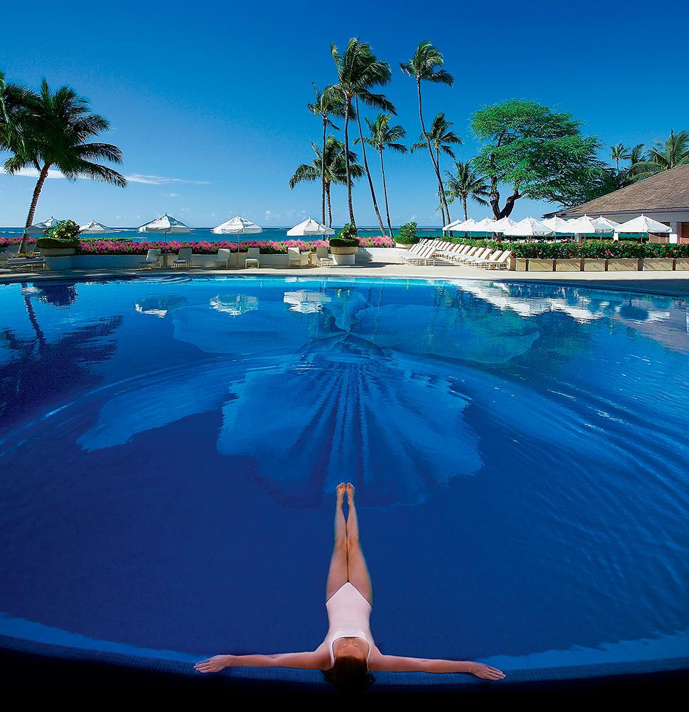Swimming pool views at Halekulani in Waikiki.