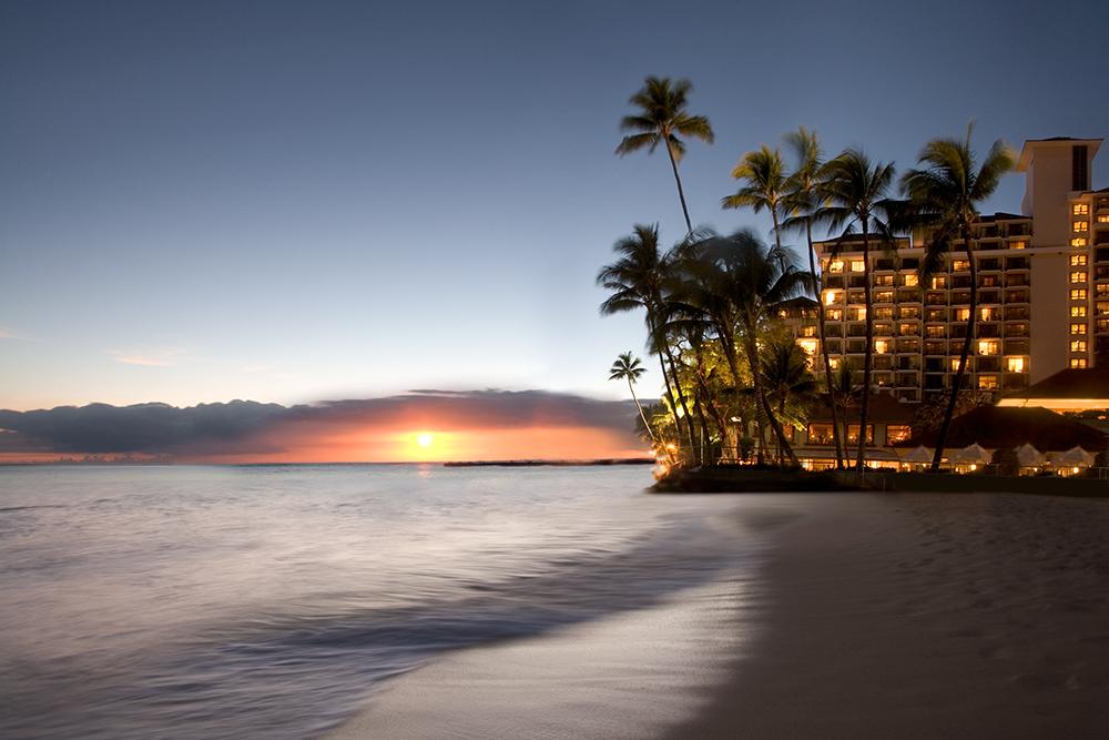 View of the ocean-front Halekulani hotel.