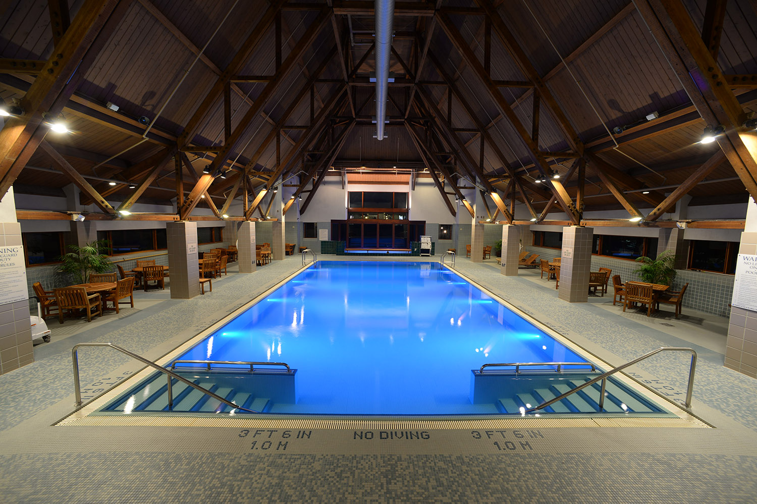 Resort amenities include an indoor heated 25 x 50 foot lap pool with vaulted wood beam ceilings.
