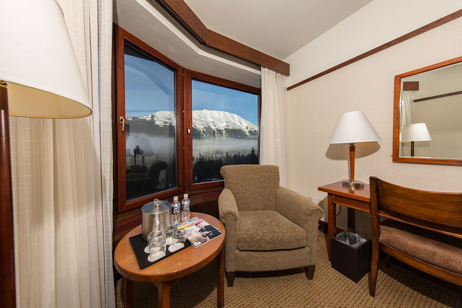 The resort has 304 luxury guest rooms, many of which offer stunning views of the mountain peaks and glaciers.
