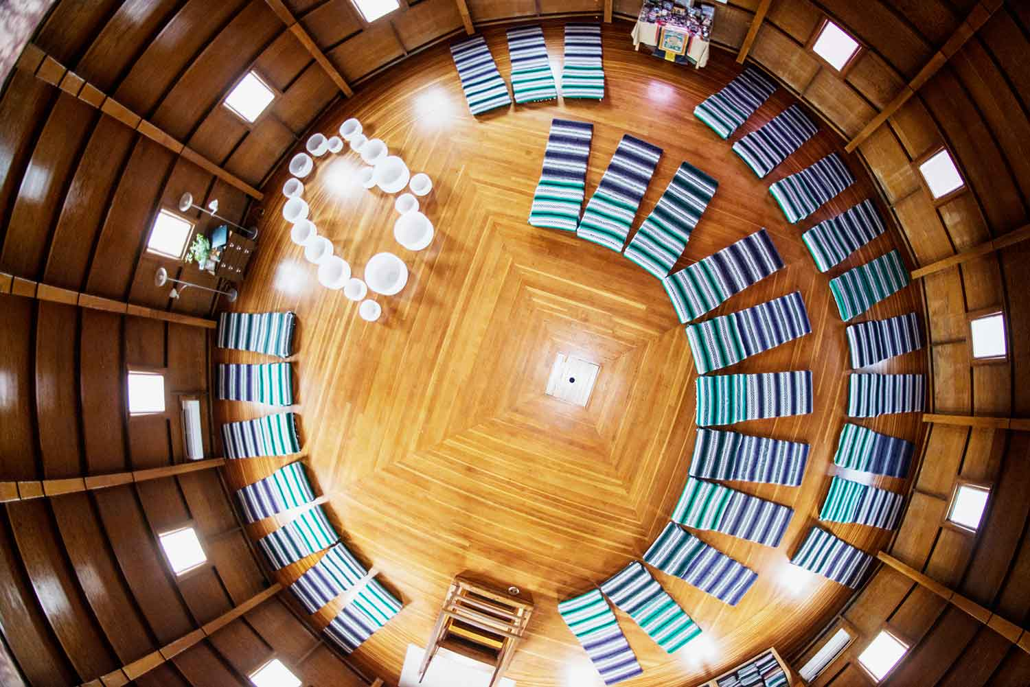 An overhead view of the sound chamber where sound baths are conducted at the Integratron. [Image courtesy of Integratron]