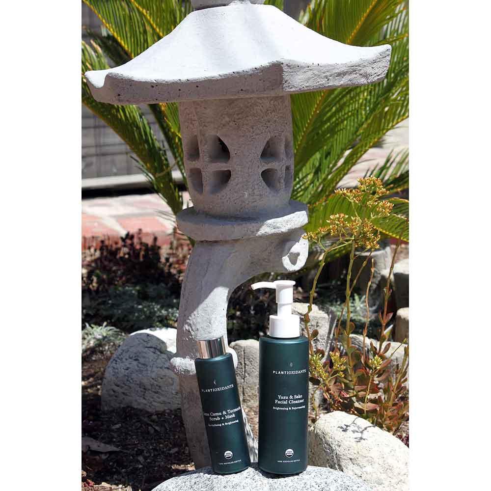 Plantioxidants Rejuvenating Cleanser: Yuzu & Sake and Brightening Treatment: Camu Camu & Turmeric Scrub.