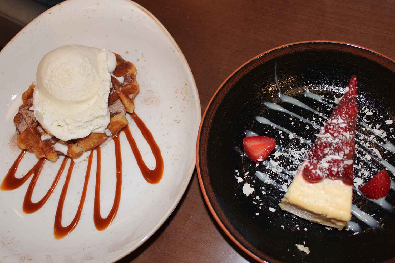 Churro Waffle and Gelato and Wild Strawberry Cheesecake.