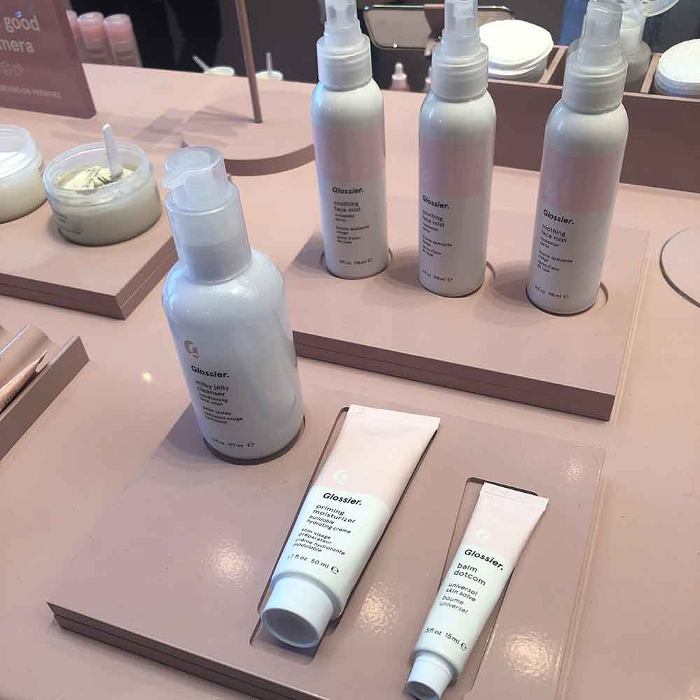 A selection of Glossier products at the Glossier store on Melrose in Los Angeles.