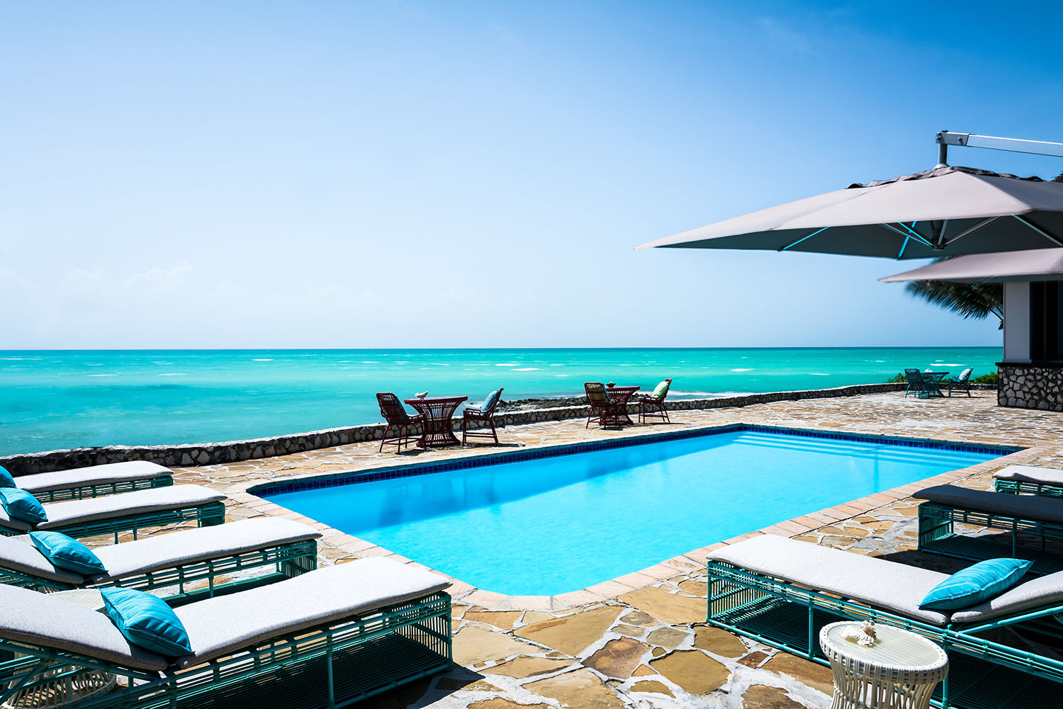 View from one of the private island's 12 Beach Pool Villas.