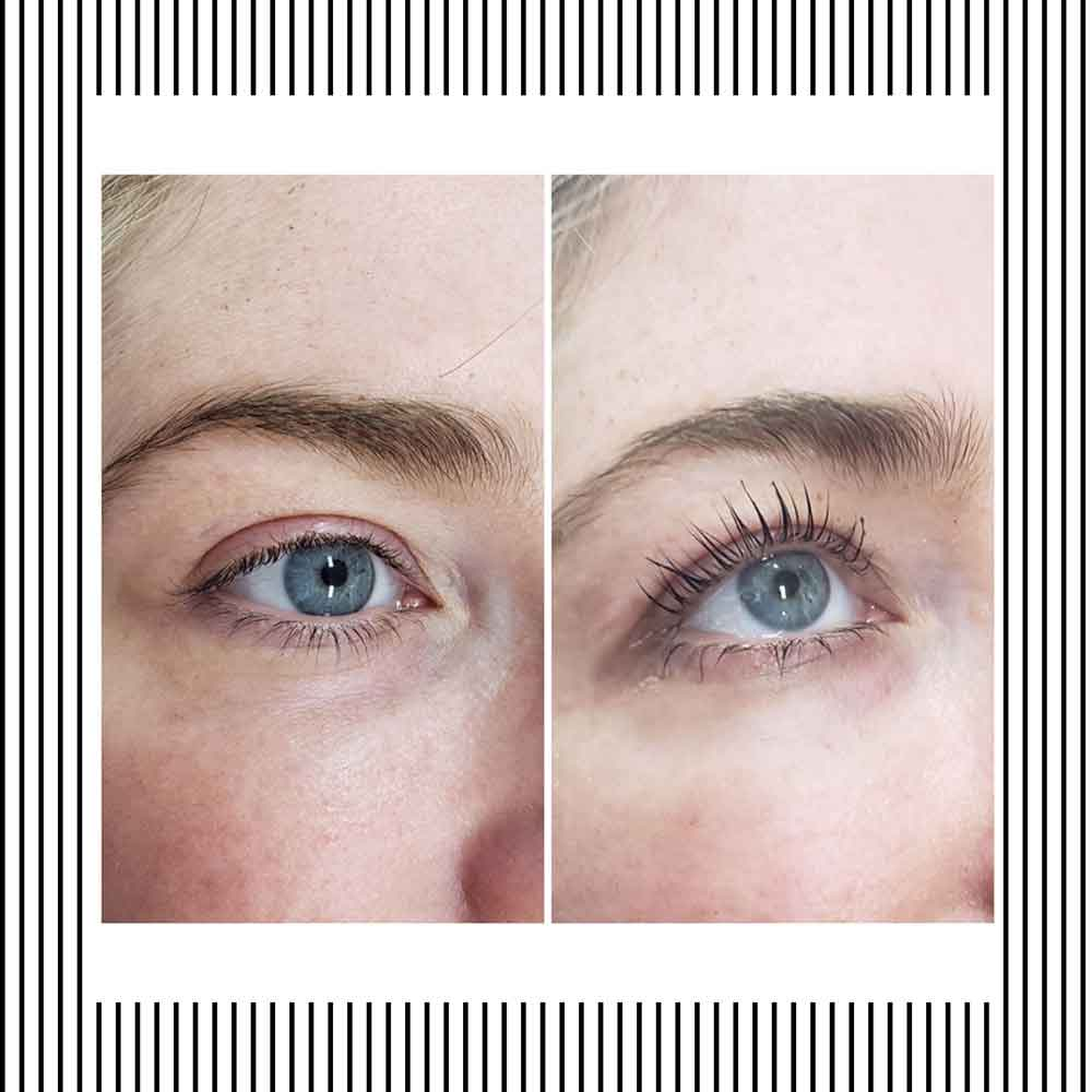 Eyelash lift before and after.