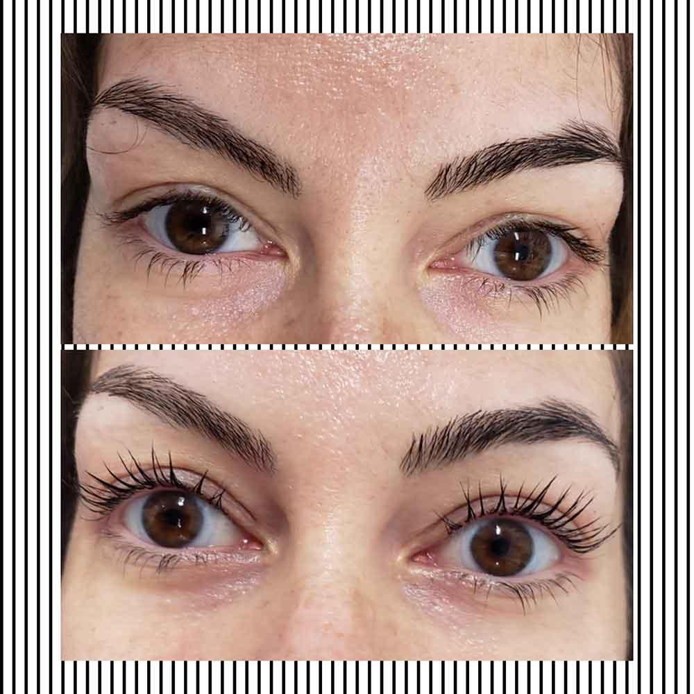 Eyelash lift results.