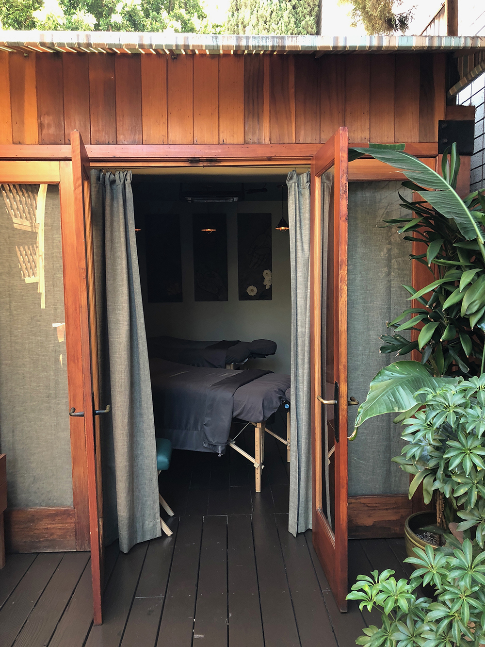 The spa includes an outdoor bungalow and cabana for the ultimate relaxation experience.