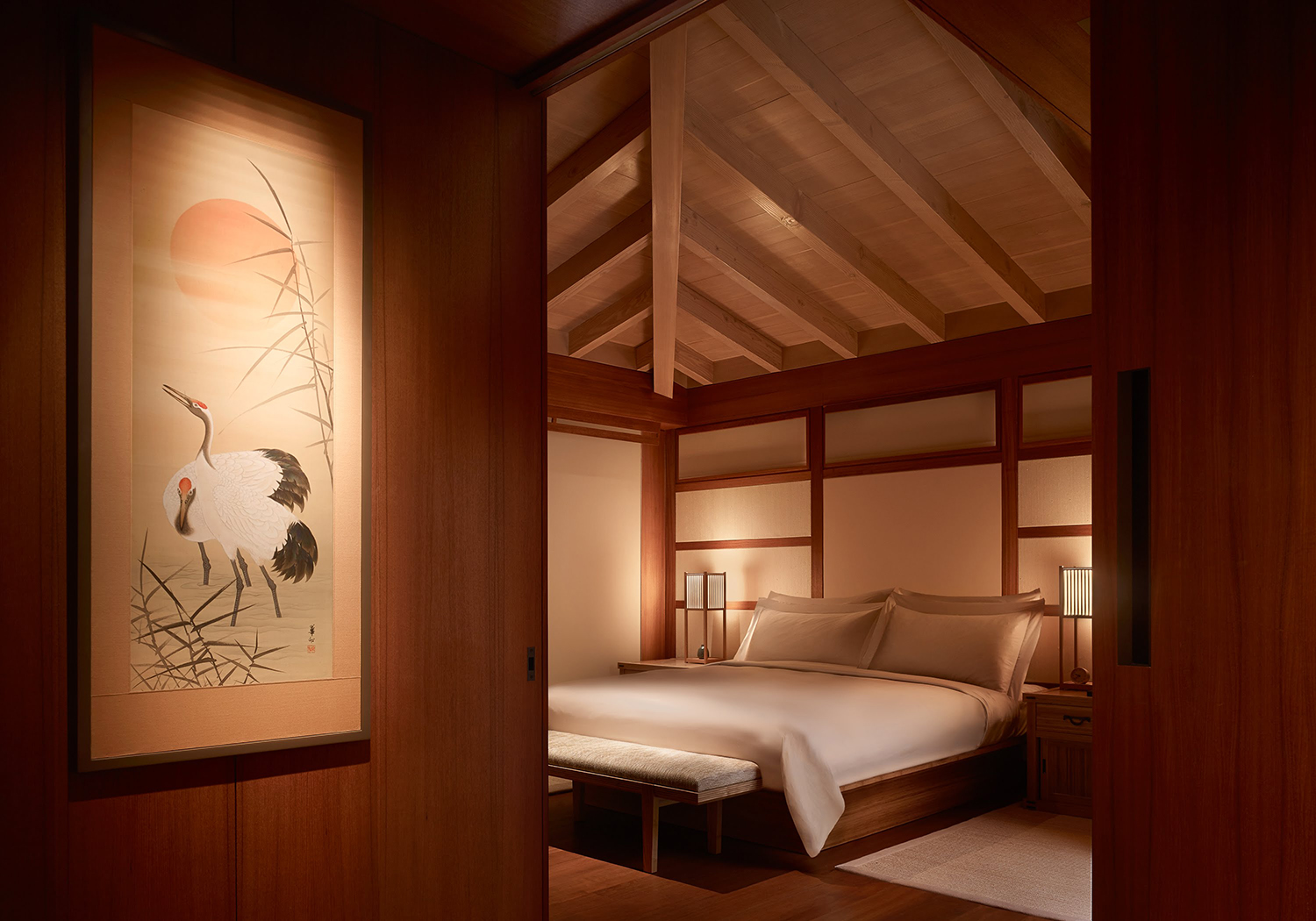 Each of the property's 16 guest rooms feature Japanese design elements such as tatami mats and shoji screens.
