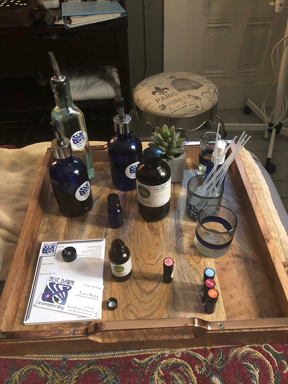 The spa also offers personalized one-on-one design sessions with Shipley, who works with guests in tandem to create a unique essential oil blend.
