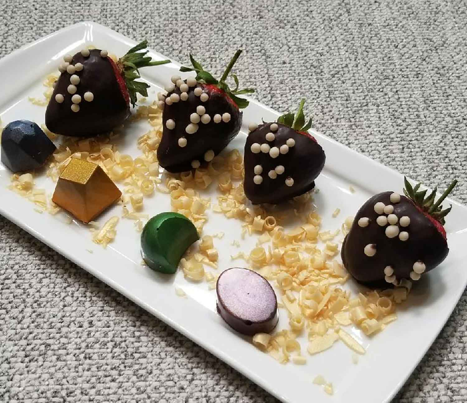 Chocolate covered strawberries at Spa Montage.