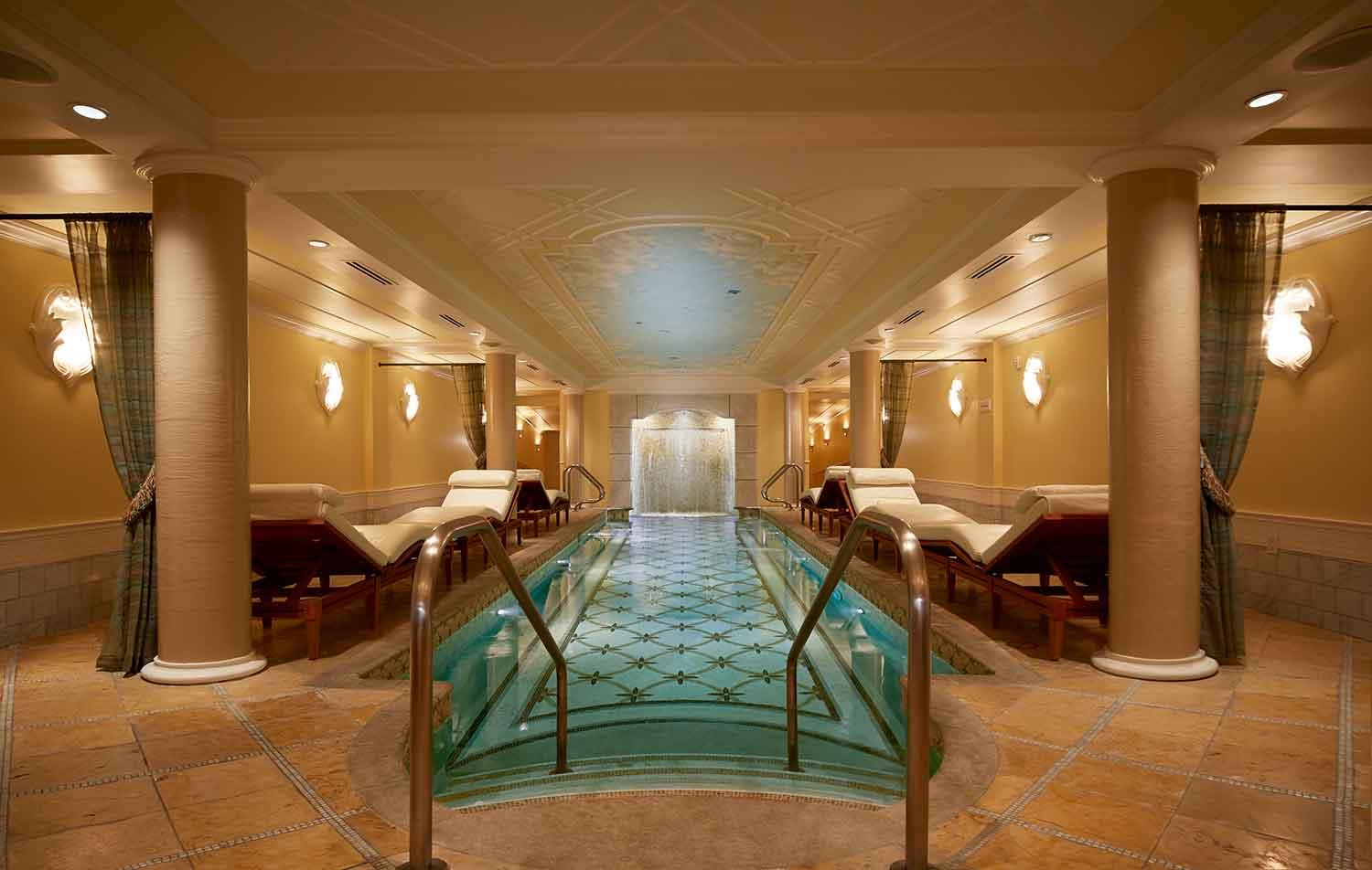 Relaxation pool with eight-foot waterfall at Kohler Waters Spa, Destination Kohler.