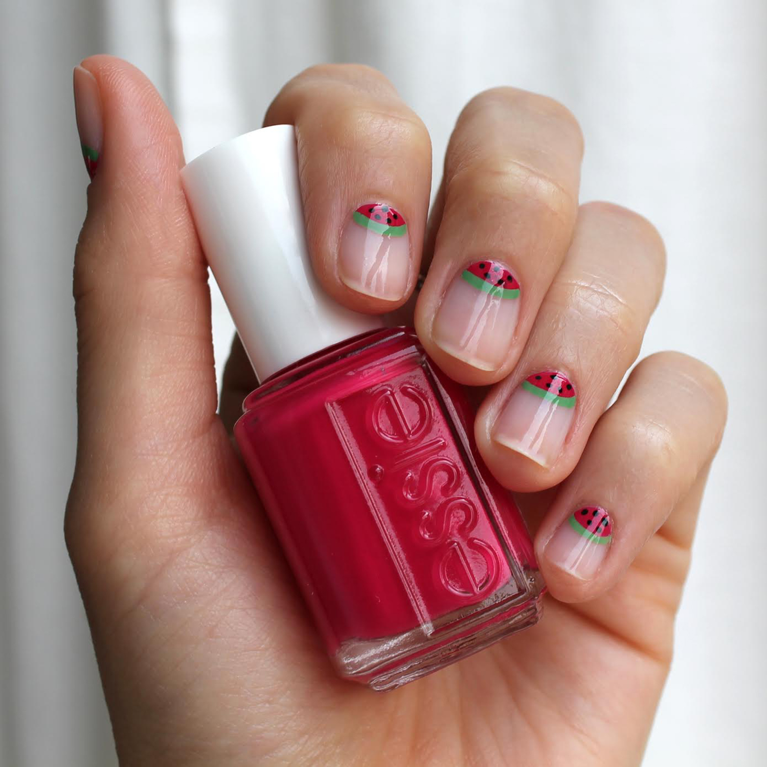 Recreate this gorgeous watermelon mani courtesy of essie in four simple steps.